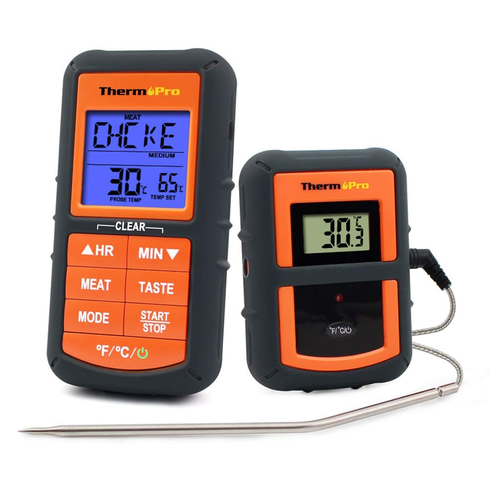 TURATA LED Funk Bratenthermometer Fleischthermometer Zeitmesser Grillthermometer